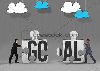 Goal against grey jigsaw pieces