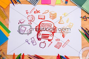 Composite image of education doodles
