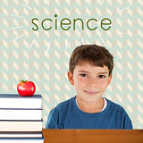 Science against red apple on pile of books