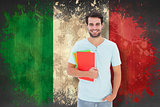 Composite image of student holding notepad