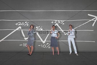 Composite image of thinking businesswomen