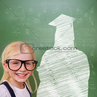 Composite image of cute pupil with graduate outline