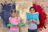 Composite image of elementary pupils reading
