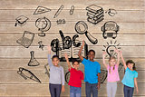 Composite image of elementary pupils smiling and waving