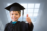 Composite image of cute pupil in graduation robe
