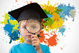 Composite image of cute pupil looking through magnifying glass