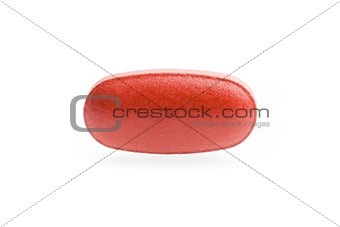 one red medical pill isolated