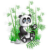 Panda sitting in bamboo