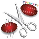scissors, needles and pins