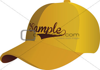 Blank Yellow Baseball Cap on white ground