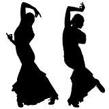 Two black silhouettes of female flamenco dancer