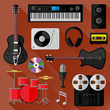 Set of music and sound objects. Flat design