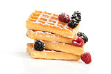 Delicious waffle isolated on white.