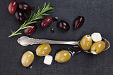 Luxurious dark culinary olive background.