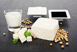 Luxurious soy products background.