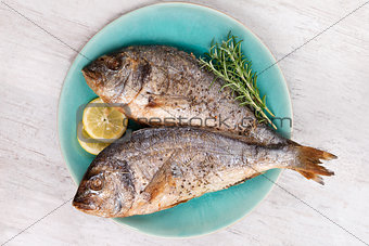 Grilled sea bream on plate, top view.