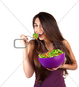Attractive female eat salad