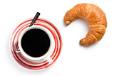 fresh croissant with coffee