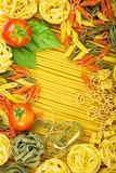 Various Italian pasta background