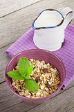 Healthy breakfast with muesli and milk