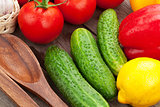 Fresh ripe vegetables closeup