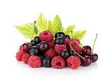 Black currant, raspberry and cherry