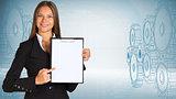 Businesswoman holding paper holder