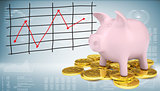 Piggy bank with gold coins and graph of price changes