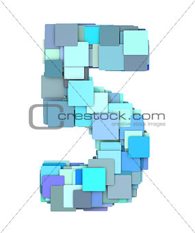 3d multiple blue tiled number five 5 fragmented on white