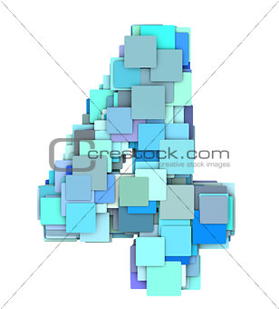 3d multiple blue tiled number four 4 fragmented on white