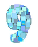 3d multiple blue tiled number nine 9 fragmented on white