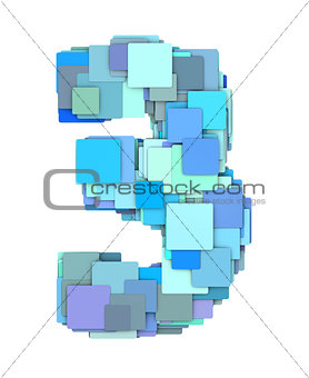 3d multiple blue tiled number three 3 fragmented on white
