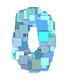 3d multiple blue tiled number zero 0 fragmented on white