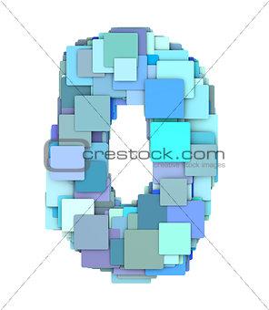 3d multiple blue tiled number zero 0 fragmented on white