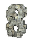 3d gray tile eight 8 number fragmented on white