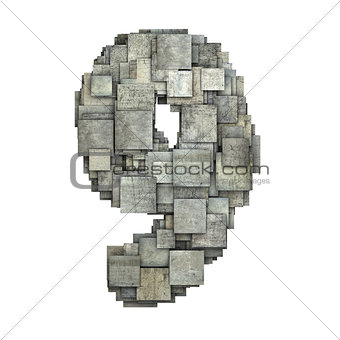 3d gray tile nine 9 number fragmented on white