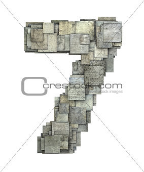 3d gray tile seven 7 number fragmented on white