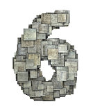 3d gray tile six 6 number fragmented on white