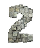 3d gray tile two 2 number fragmented on white