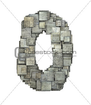 3d gray tile zero number fragmented on white
