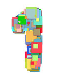 3d number one 1 fragmented tiled on white in multiple color