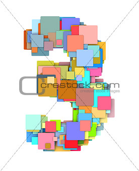 3d number three3 fragmented tiled on white in multiple color