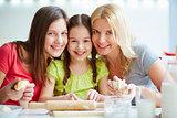 Happy female family