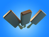 3d Illustration of chocolate ice cream.