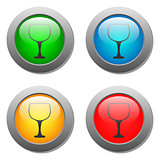 Goblet icon glass button set