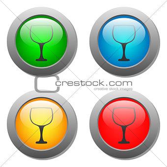 Goblet icon glass button set