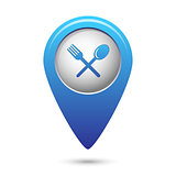Map pointer with fork and spoon icon