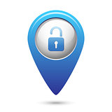 Map pointer with open lock icon
