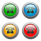 Phone icon glass button set