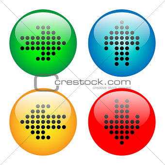 Arrows glass button icon set